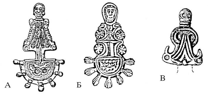 Сл. 2. Словенски иалчесши фибули од Тесалија (А, Б — по Ј. Вернер) и дел од Виничани кај Т. Велес