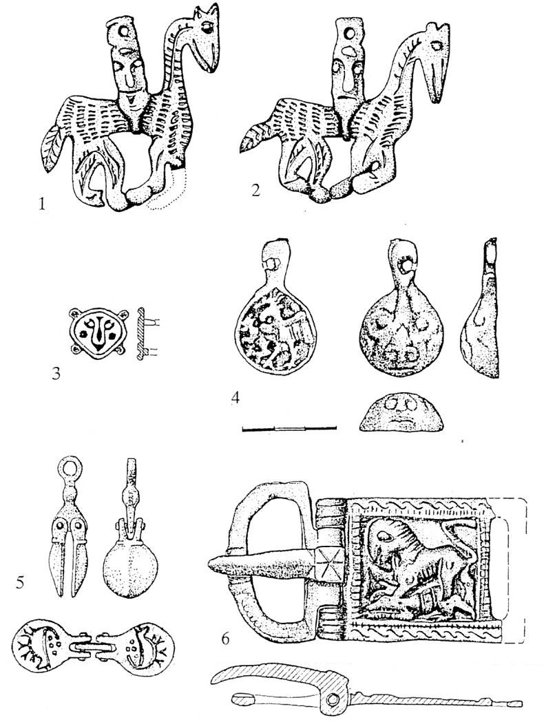 Cл. 6. Обележја на власта на балканските простори во 10. век: 1, 2. амулети со тн. глава-јавач од Чемрен (Зовик) и Прилеп (Варош); 3. тамга од Арангел кај Кичево; 4. амулет-печат од Девол (Дреново кај Кавадарци); 5. двостран печат од Јегуновце кај Тетово; 6. појасна тока со лав-грифон, Девол (Дреново)