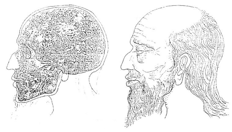 "Сл. 8. Ликот на царот Самуил, реконструиран според неговиот череп (oд саркофаг ""Г"") црква Св. Ахил, Мала Преспа (по Н. Муцопулос)"
