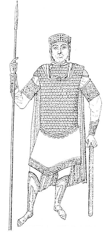 Сл. 9. Царот Василиј II вооружен како оклопен коњаник. Минијатура на цариградскиот псалтир од 1017 г.